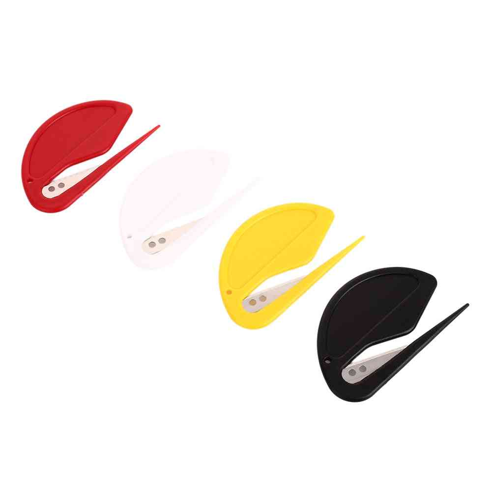 Plastic Mini Letter Opener, Mail Envelope Safety Paper Guarded Cutter Blade Office Equipment