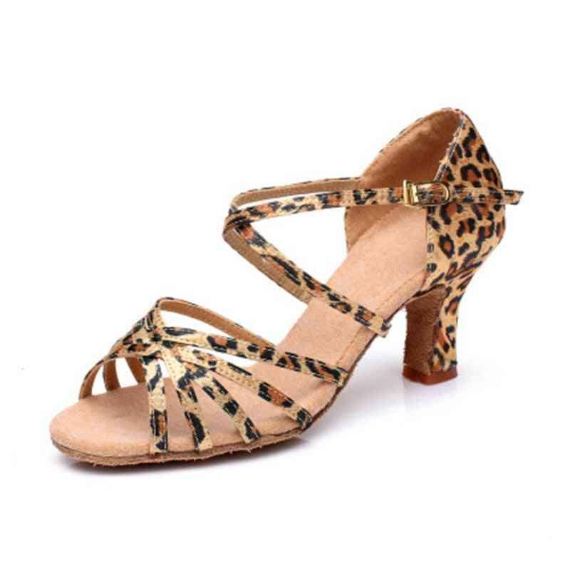 Satin Salsa Latin Women Tango Ballroom Dance Shoe High Heel Soft Sandals