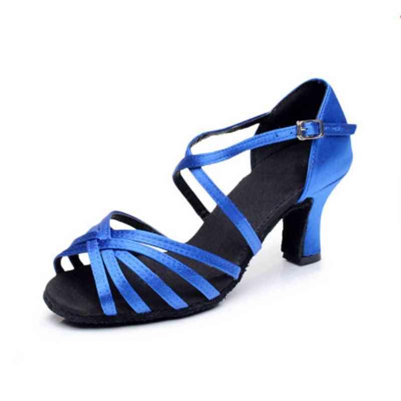 Satin Salsa Latin Dance Shoe Tango Ballroom Dance Shoe High Heel Soft Sandals