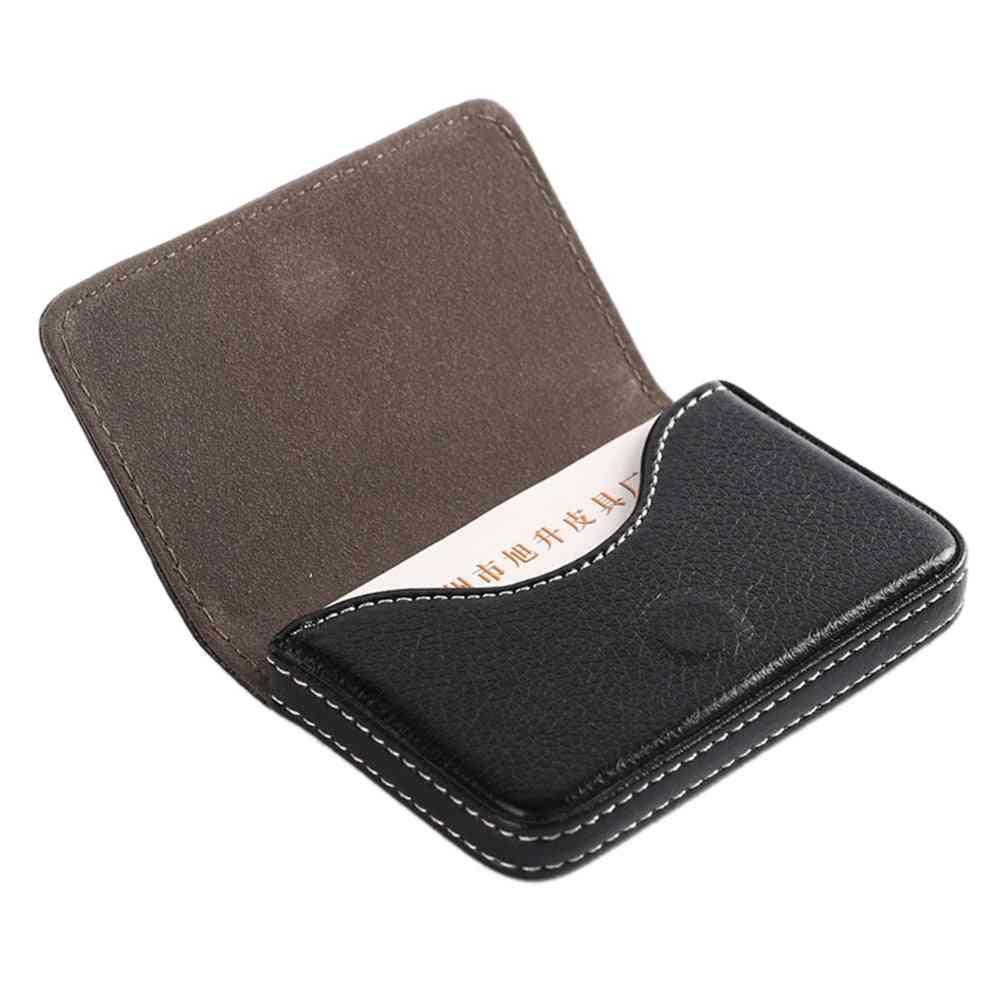 Pu Leather Large Capacity Name Card Box Storage Case