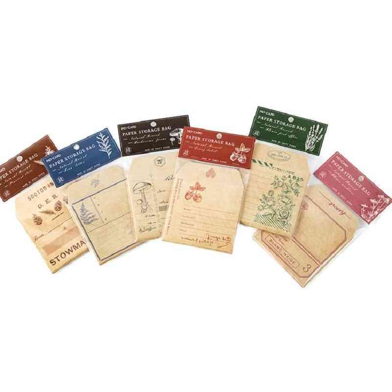 Paper Retro Plants Kraft Weekly Plan Packing Bag Card