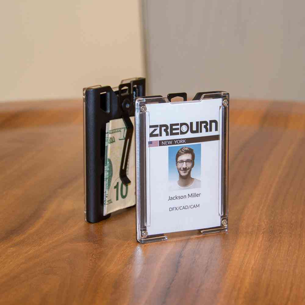 Badge Holder Wallet, Durable Id Card With Lanyard Metal Clip