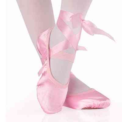 Soft Ballet Shoes-silk Pointe With Ribbon For