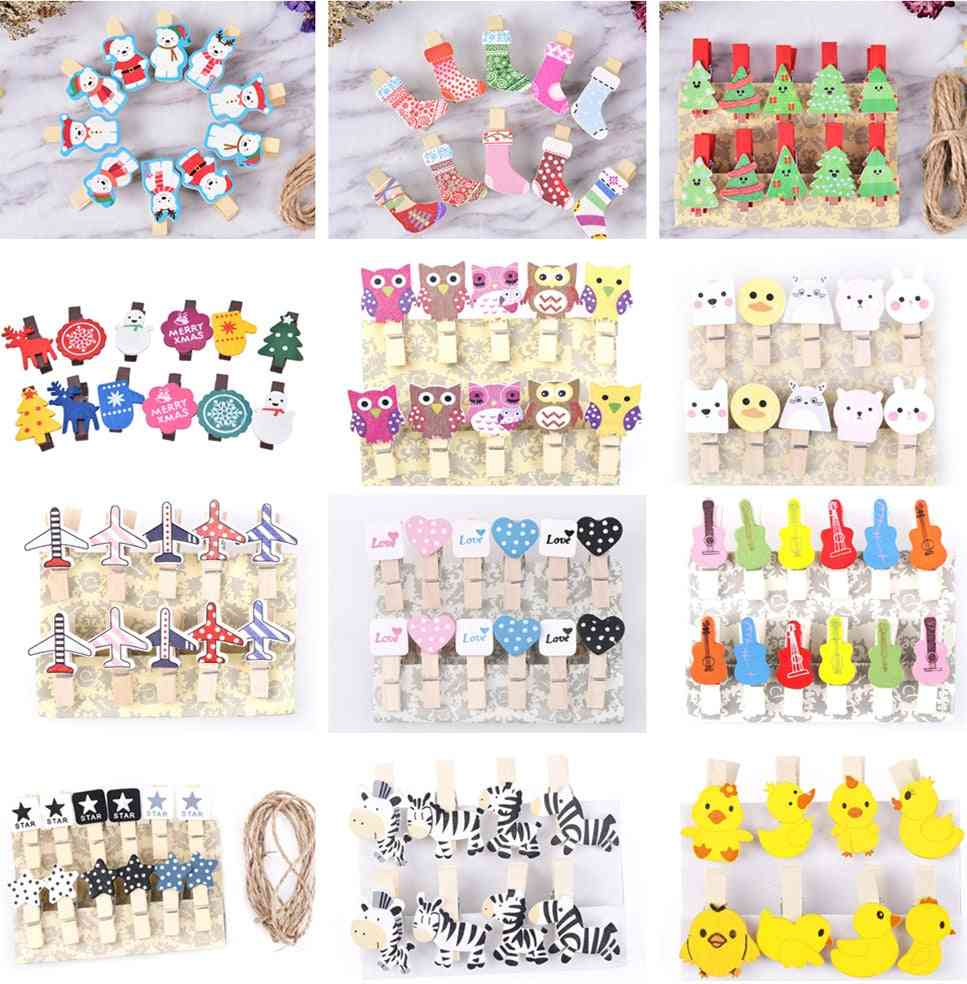 Mini Natural Wooden, Christmas, Snowman, Duck, Heart, Owl Shaped  Photo Clips