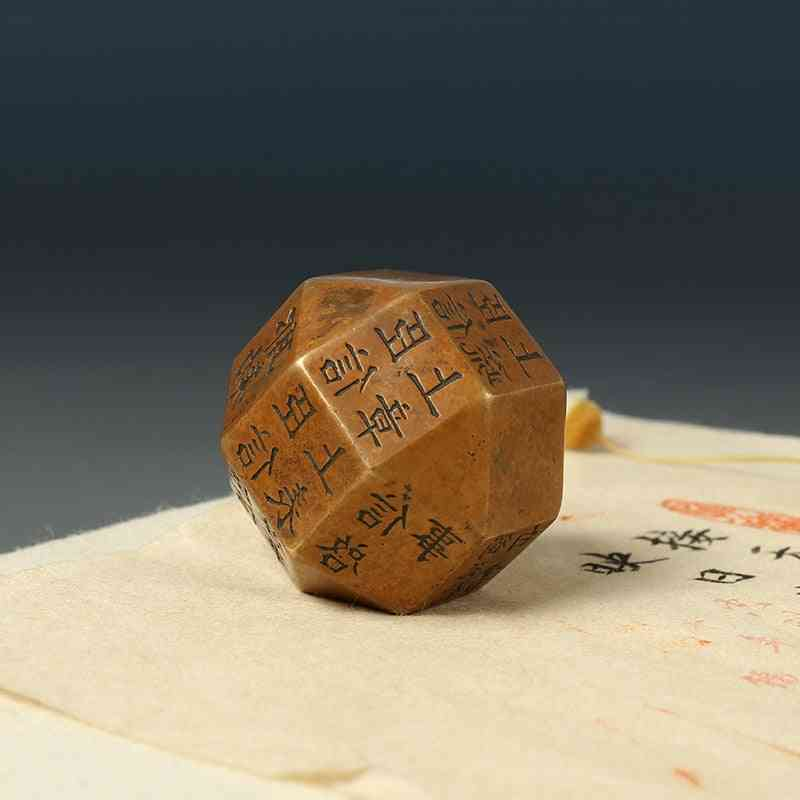 Vintage Ink Painting/portable Solid Bronze Paperweight Creative Polyhedron