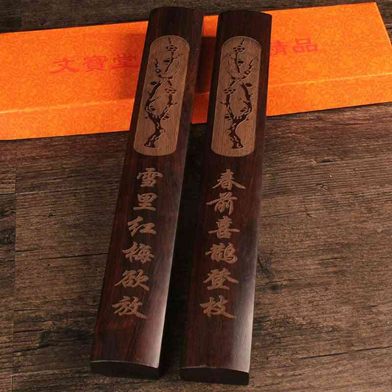 Solid Wood Carving Chinese Brush Calligraphy Painting Paperweight