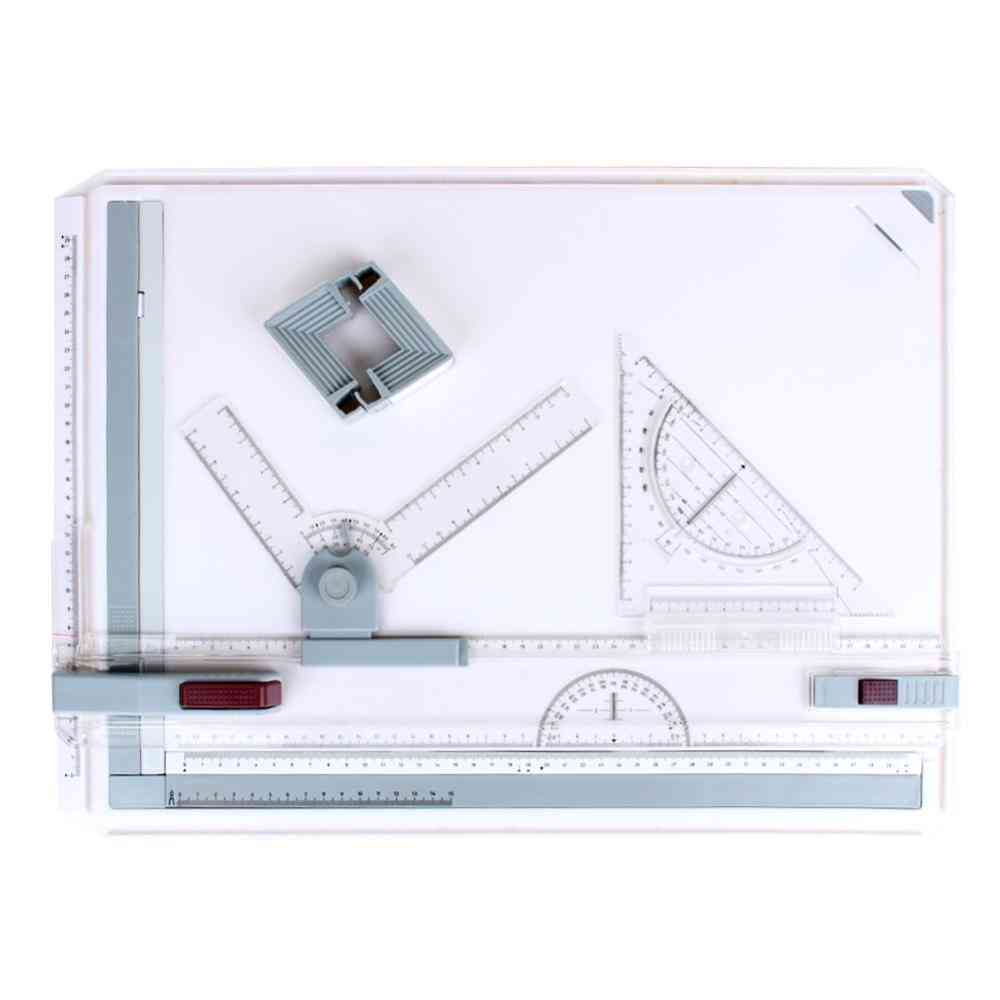 Architect Drafting Drawing Board, Ruler Table, Adjustable Angle, Art Draw Tool Set With Parallel Rulers And Corner Clips