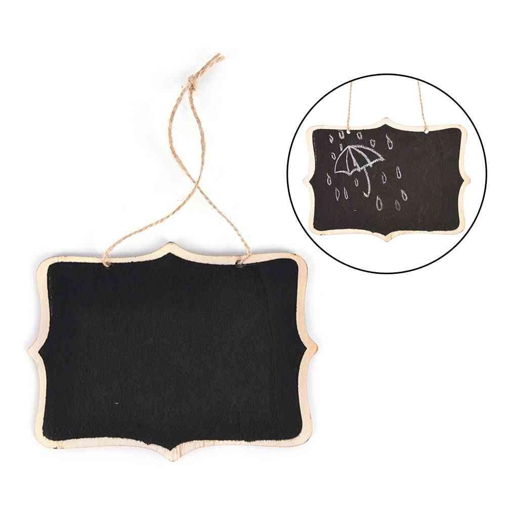 Wall-mount Wooden Black Board With Rope, Wood Blackboard Memo
