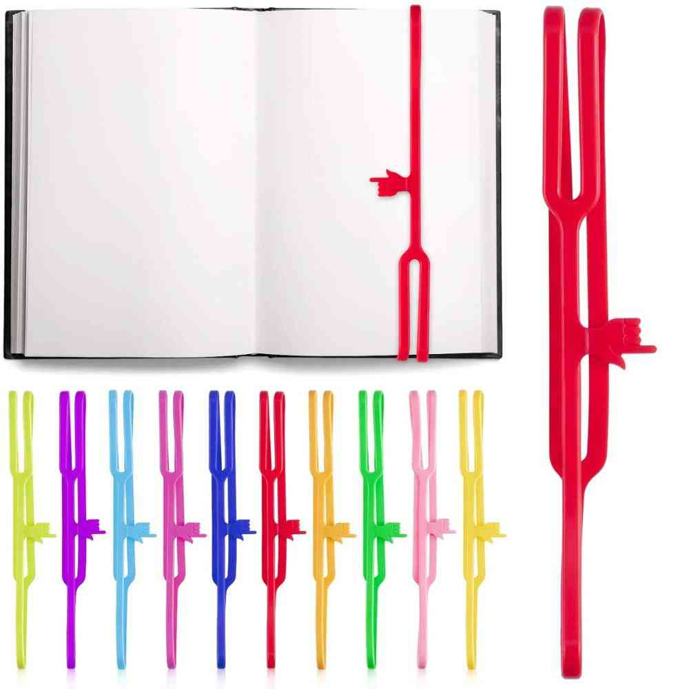Silicone Finger Point Bookmark For Books Elastic Rubber Strap, Book Marker Reading Page Holder