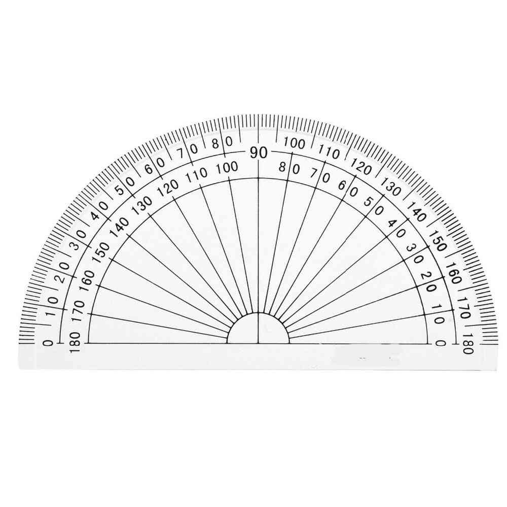 Plastic 180 Degrees Protractor For Angle Measurement, Student Math