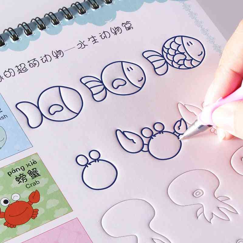 Drawing Reusable Basic Painting Copybook, Hand Writing Groove Training Notebook