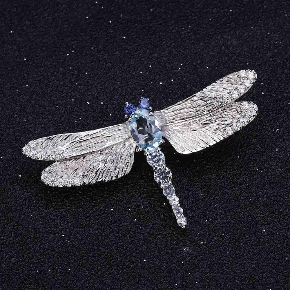 Sterling Sliver Natural Sky Blue Topaz Brooch
