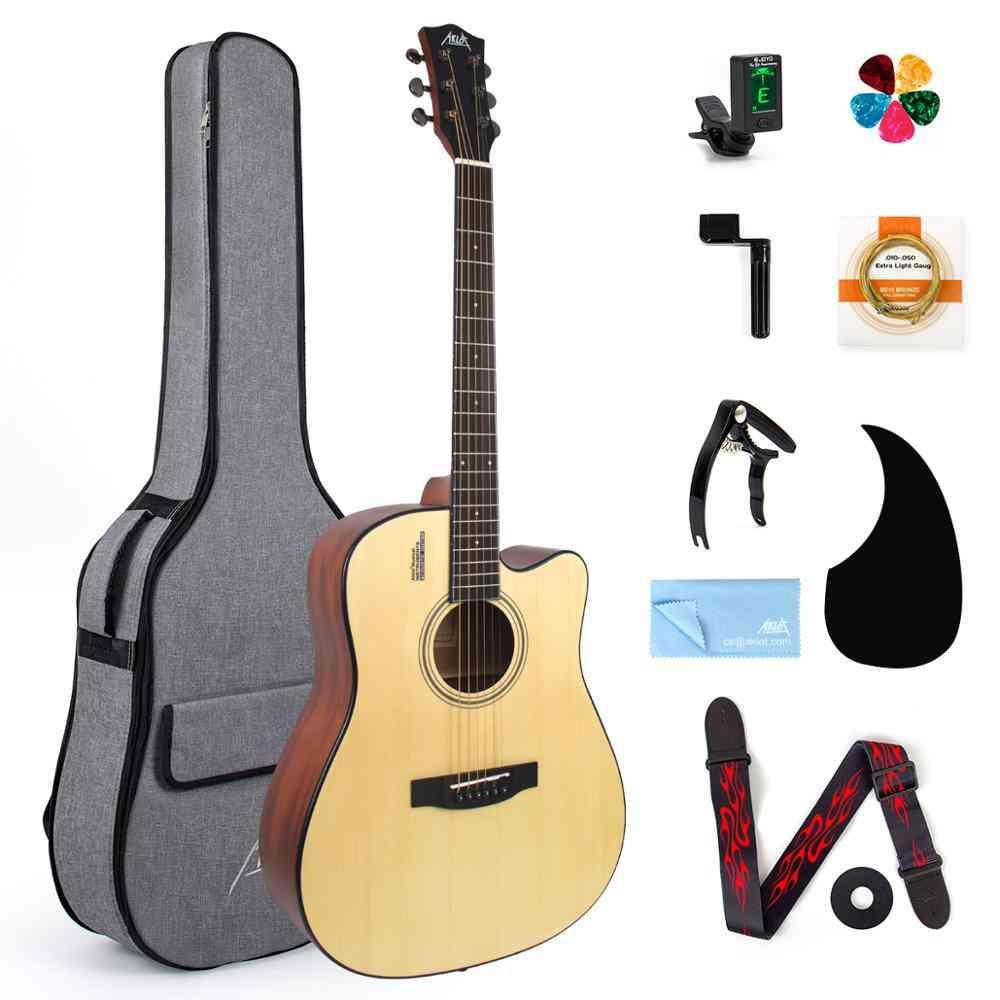 Acoustic Guitar Spruce Student & Beginner Gig Bag Tuner Strap Picks String Pickup Tools