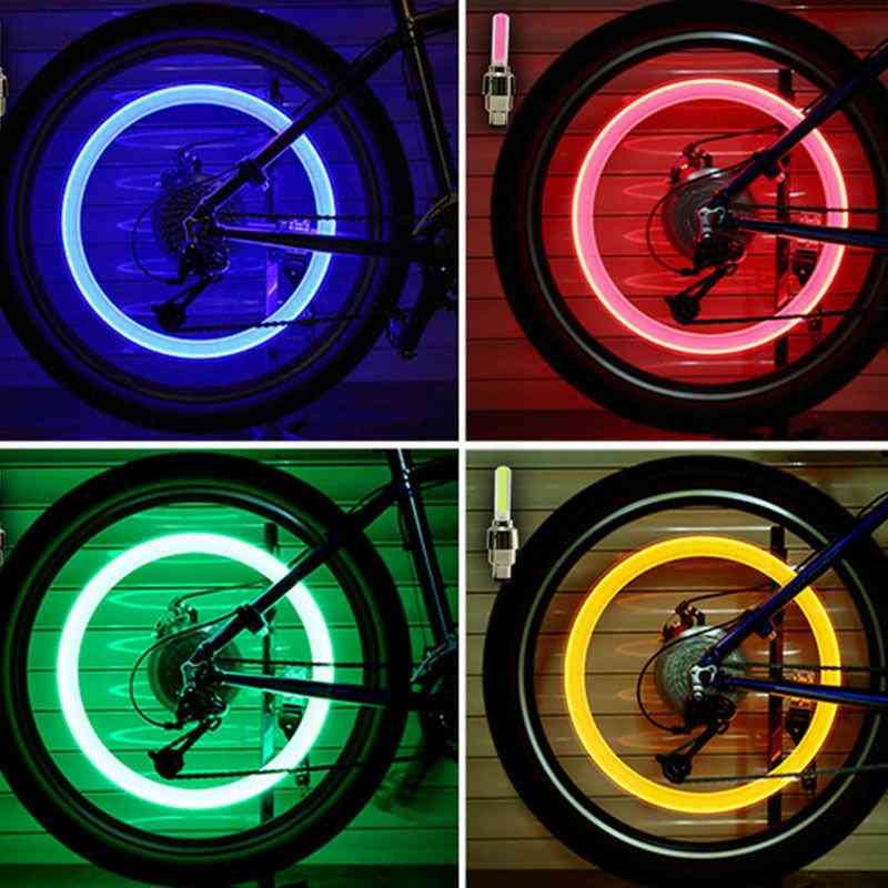 Bicycle Led Light Tire Valve Cap Flash Mountain Road Cycling Wheel Neon Lamp Cover