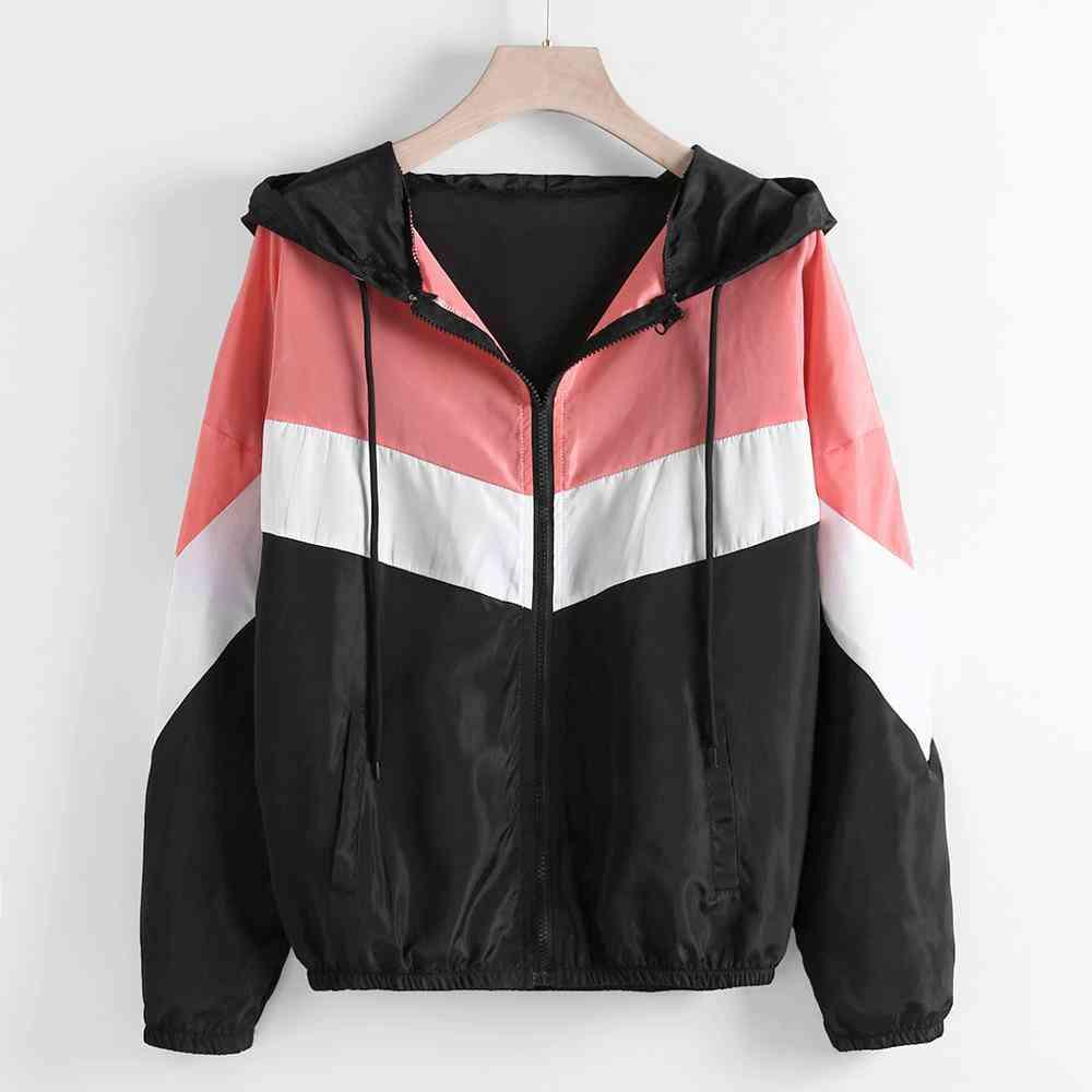 Outdoor Sport Jacket Women Casual Long Sleeve Zipper Patchwork Thin Skinsuits Hooded Autumn