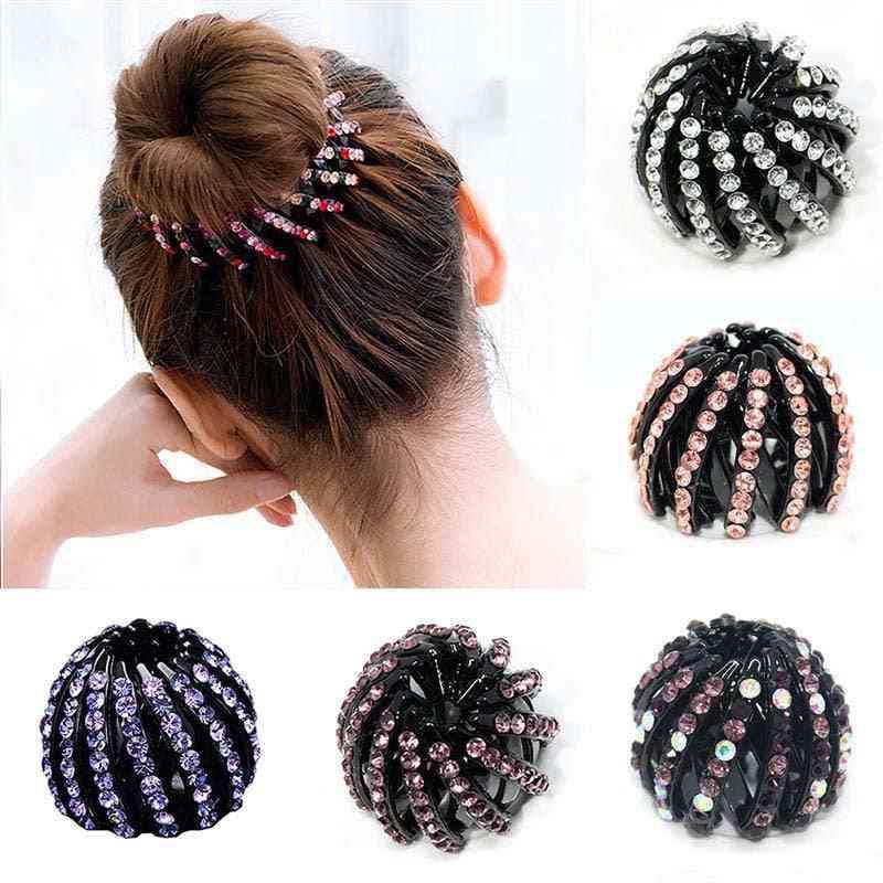 Girls Crystal Hair Clips, Rhinestones Ponytail Holder Claw Accessories, Women Ball Head, Headwear Hairpin Clip