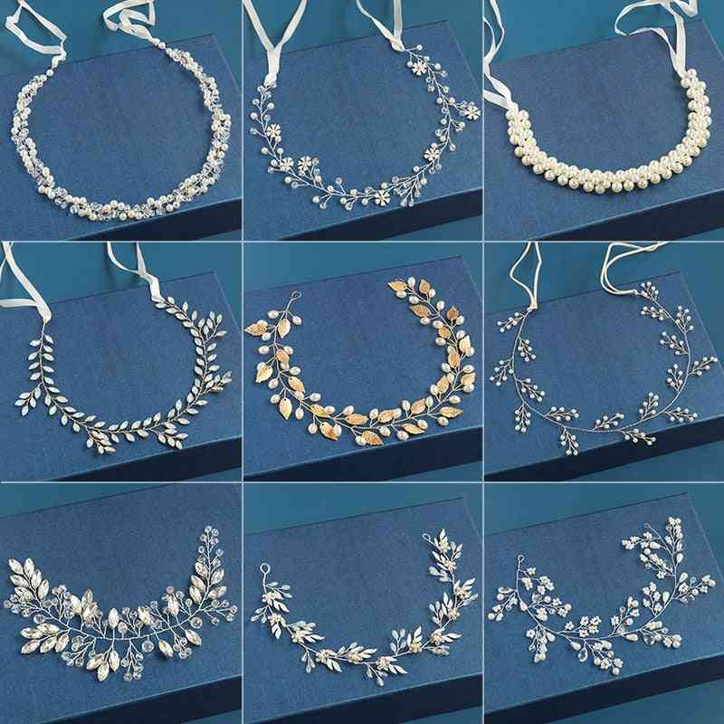 Wedding Hair Accessories, Crystal Pearl Headband Tiara, Flower Headpiece, Vine Women Jewelry, Bridal Accessories