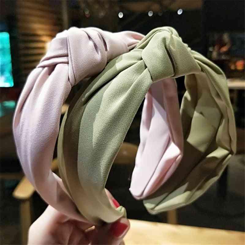 Solid Color, Cloth Cross Hair Band, Headband, Turban, Lady, Wide Plastic Hoop Bezel Accessories