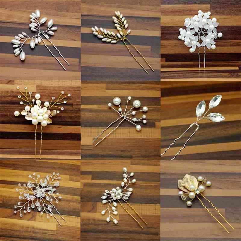 Rose Gold Prom Bride Bridesmaid Hair Accessories, Pearl Pin Clip, Luxury Crystal Rhinestone, Wedding Hairpins Sticks