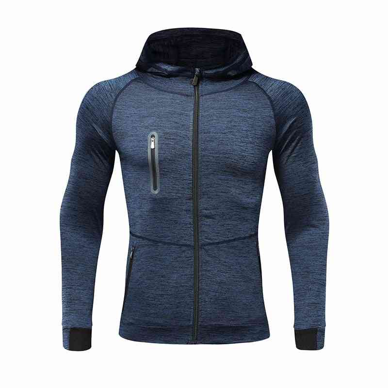 Men Autumn Hooded Sports Coat Quick-drying Workout Running Training Athletics