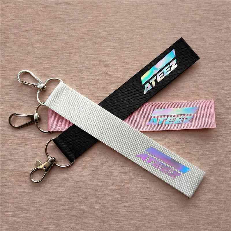 Kpop Ateez Laser Lanyard Keychain, Mobile Phone Hang Rope