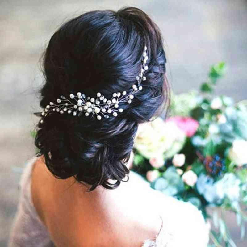 Aukmla Bride Wedding Hair Pins, Pearl Beads Headpiece Hair-clip