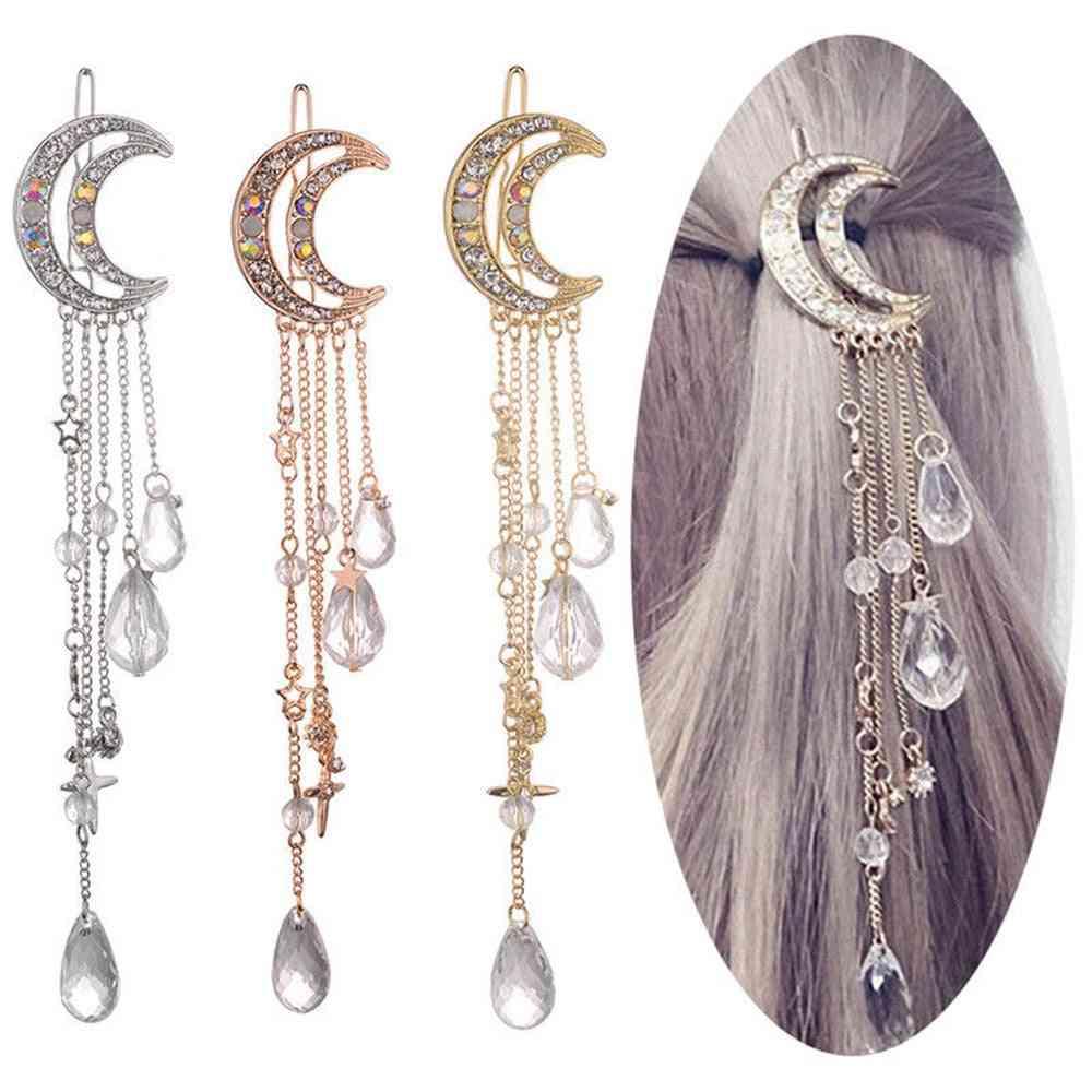Women Moon Rhinestone Crystal Tassel Long Chain Beads Dangle Hairpin Hair Clip