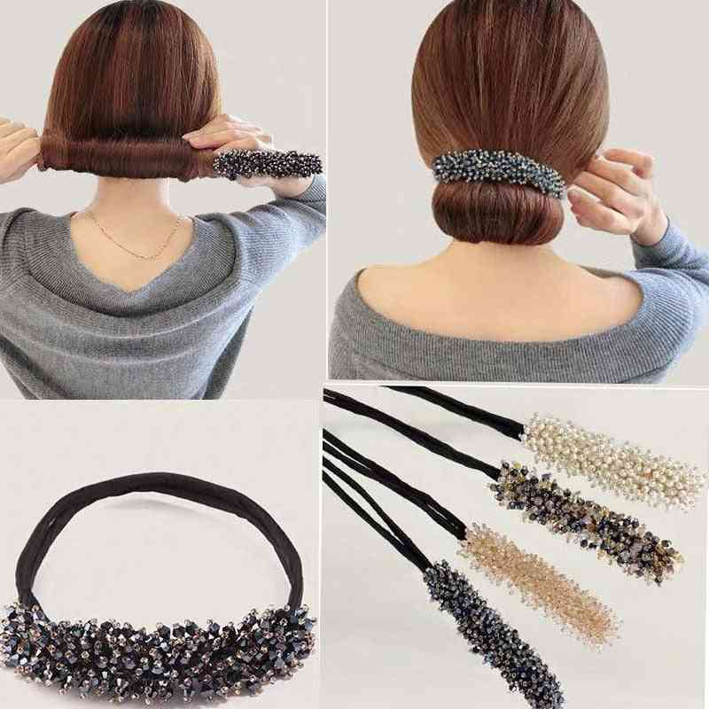 Bridal Rhinestone Pearl Flower Clear Crystal Handmade Maruko Hair Pins Clips