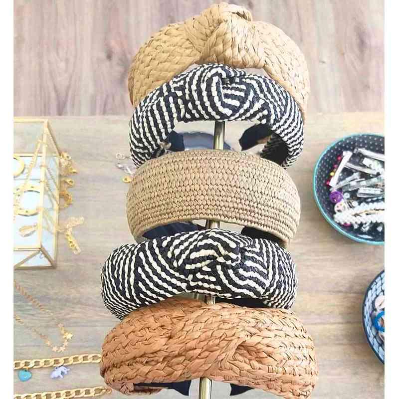 Bohemian Hairband Straw, Weave Knotted Headband