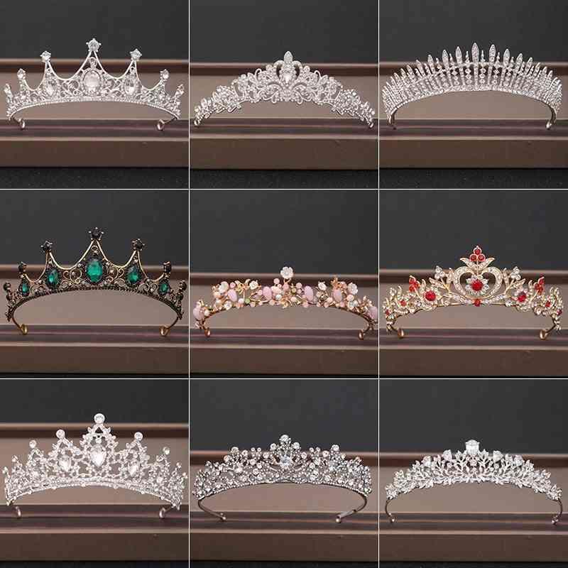 Wedding Crown Hair Jewelry, Bridal Headpiece, Woman Baroque Rhinestones Crystal Tiaras, Party Accessories