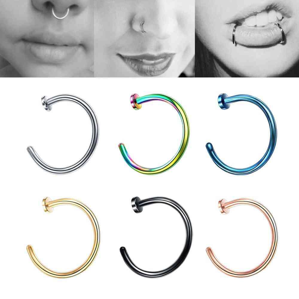 Colorful Fake Nose Piercing Ring Industrial Steel Tragus Earrings