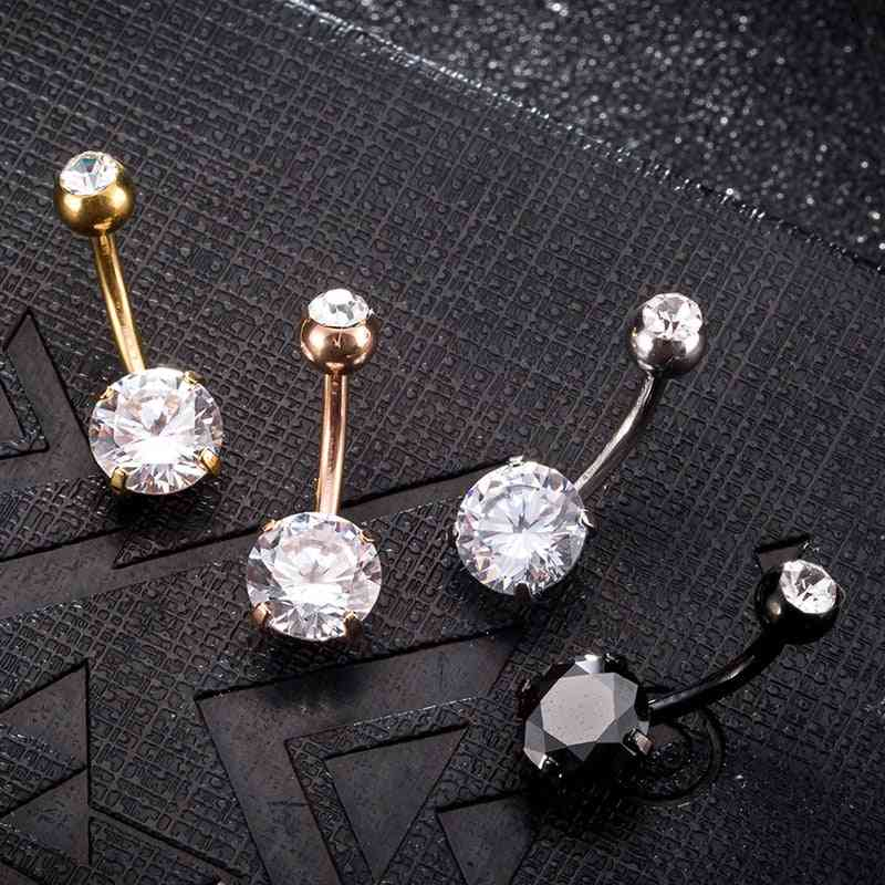 Summer Style Umbilical Nails, Navel, Body Piercing, Stainless Steel Crystal Belly Button Ring Jewelry