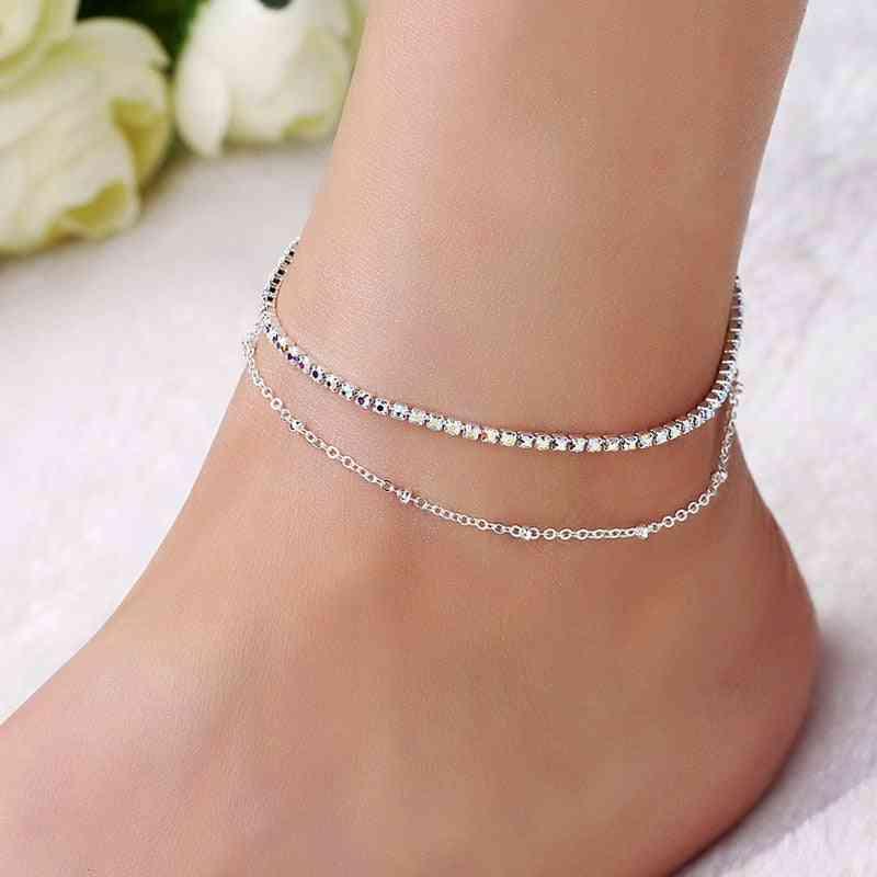 Women Double Foot Cavigliere Silver Color Chain, Ankle Bracelets
