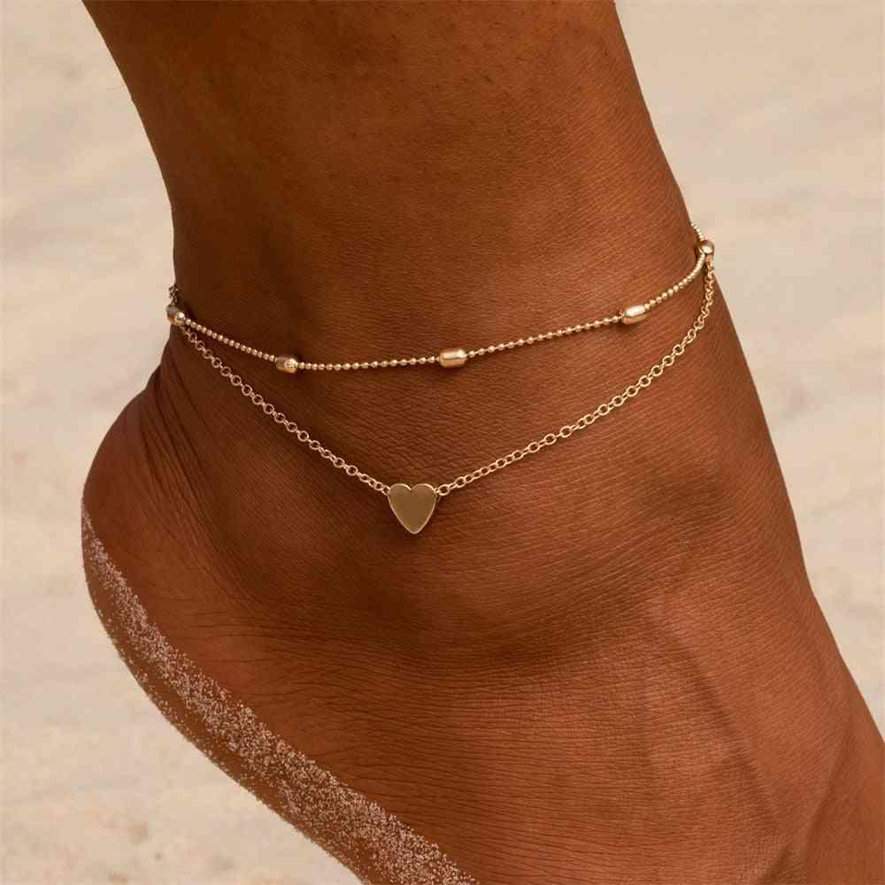 Layered Anklets Women Heart Gold, Bracelet Charm Beaded Dainty Foot Jewelry