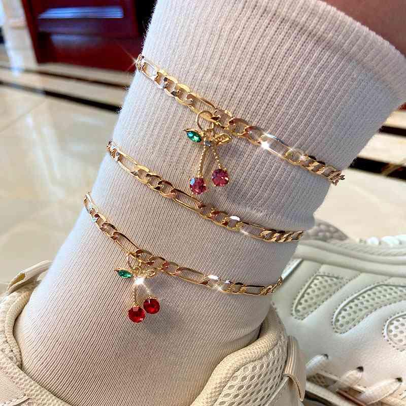 Fashion Crystal Cherry Anklet, Sweet Fruit Foot Bracelet