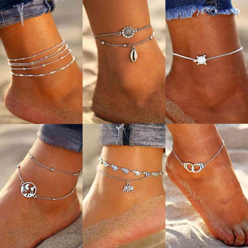 Multilayers Adjustable Anklet, Bracelet On Leg Foot Beach Jewelry