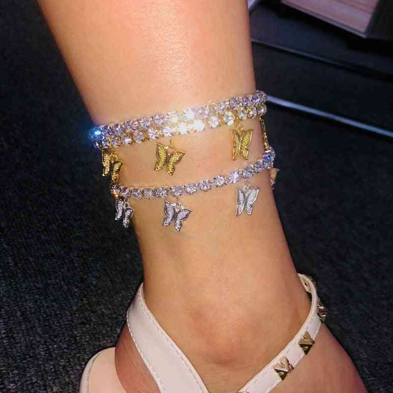 Crystal Butterfly Anklet Bracelet Foot
