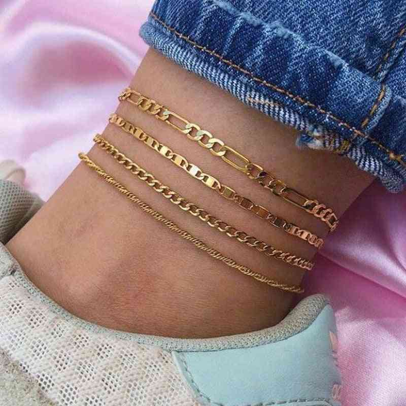 Alloy Punk Ankle Chains, Female Simple Anklets