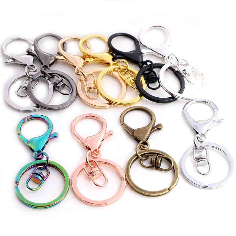 Long, Classic Colors Plated Key Ring