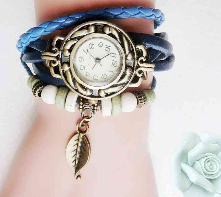 Multicolor Women Genuine Leather Quartz Dress Watch Bracelet