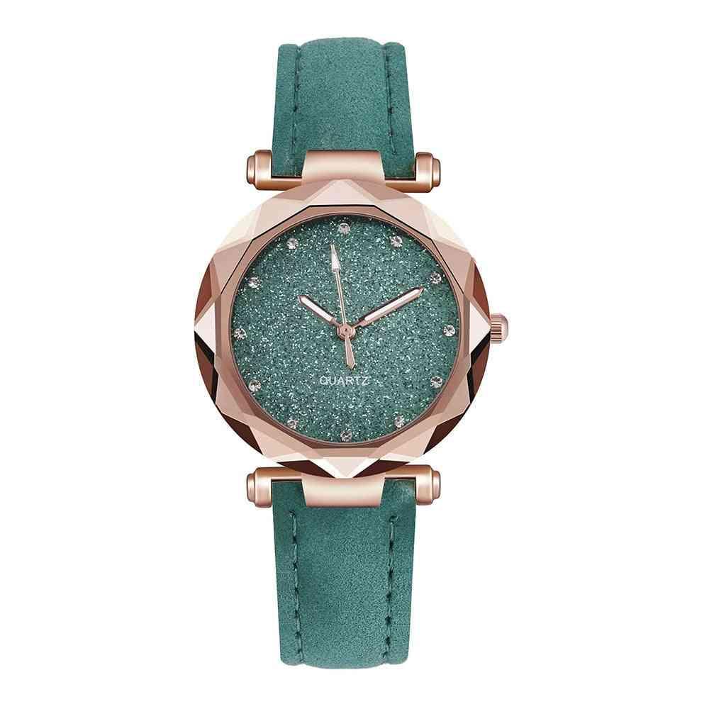 Women Casual Romantic Starry Sky Wrist Watch, Leather Rhinestone Designer Clock