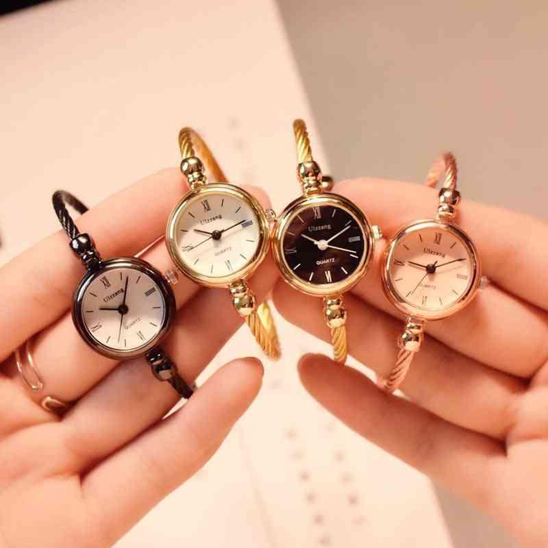 Gold Bangle Bracelet Luxury Watches, Stainless Steel Quartz Wristwatches
