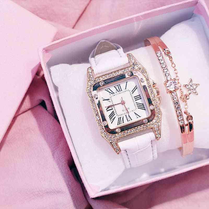 Women Starry Square Dial, Bracelet Watches Set