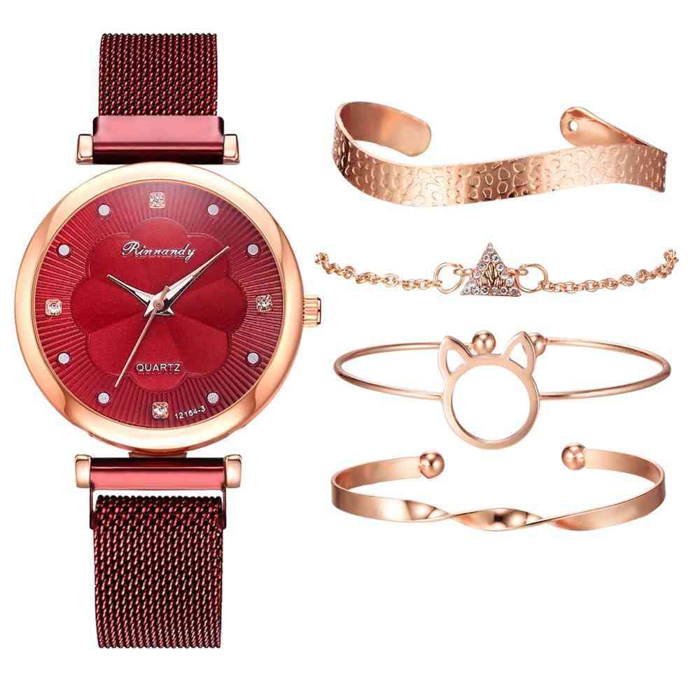 5pcs Set Women Watches, Luxury Magnet Buckle -wrist  Bracelet