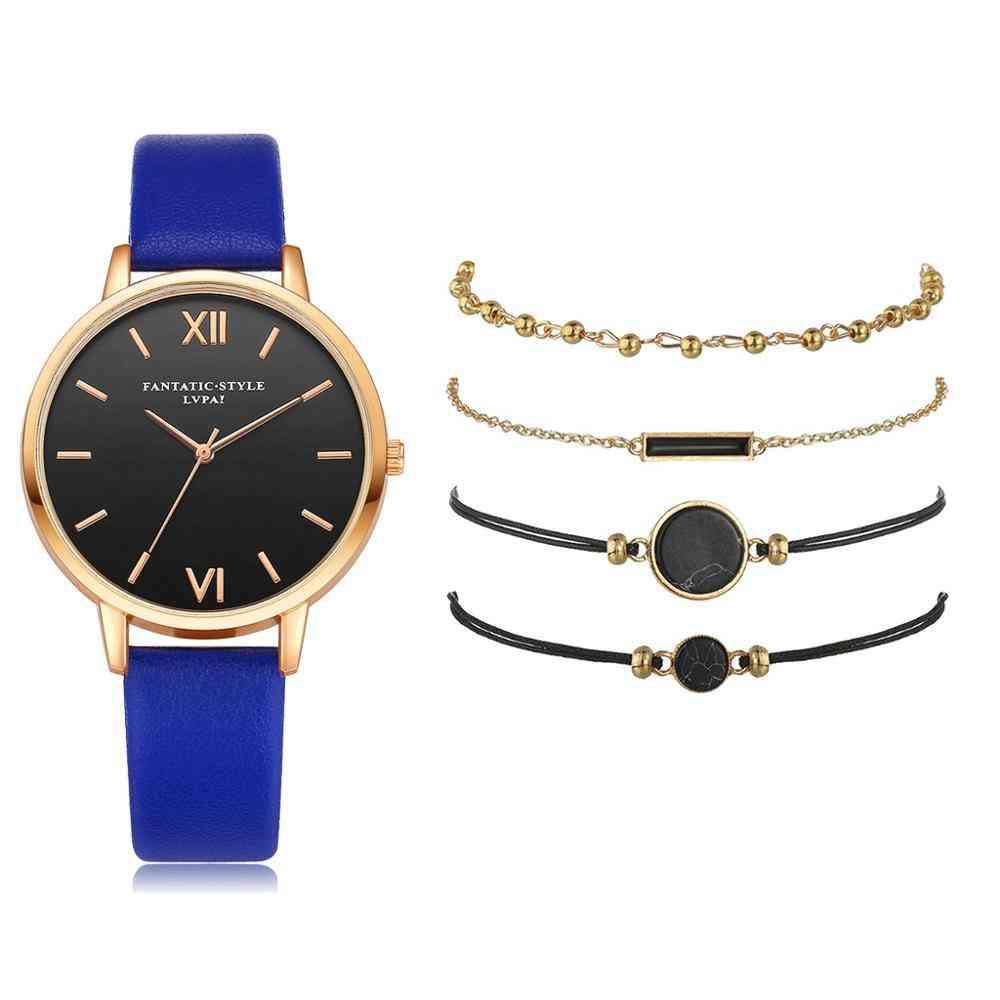 5pcs Set Women's Luxury Leather Band Analog Quartz Wristwatch