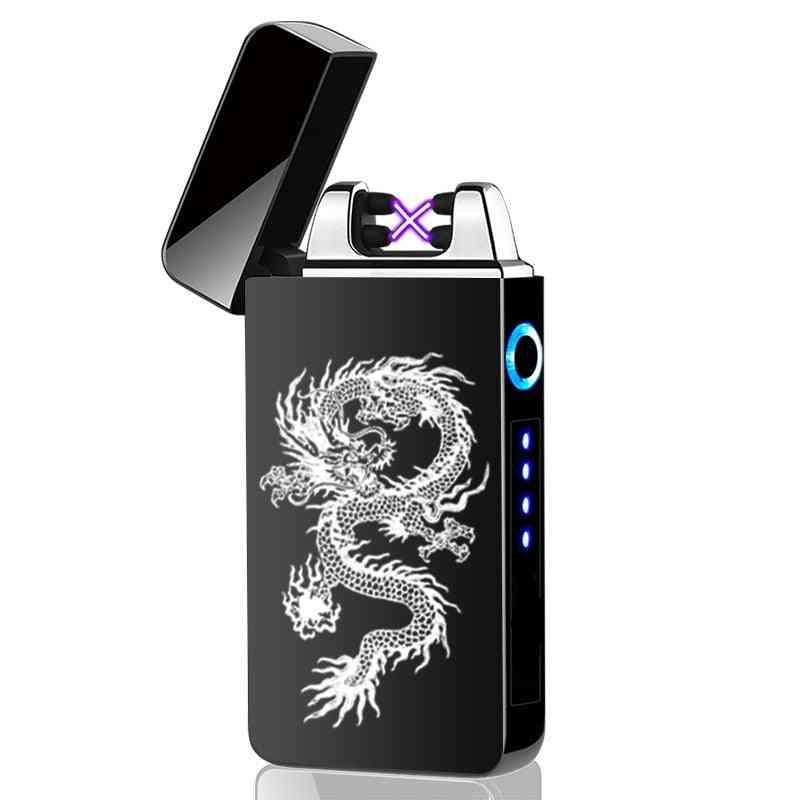 Usb Electric Lighter Fingerprint Touch, Fire Electronic Plasma, Double Arc, Windproof