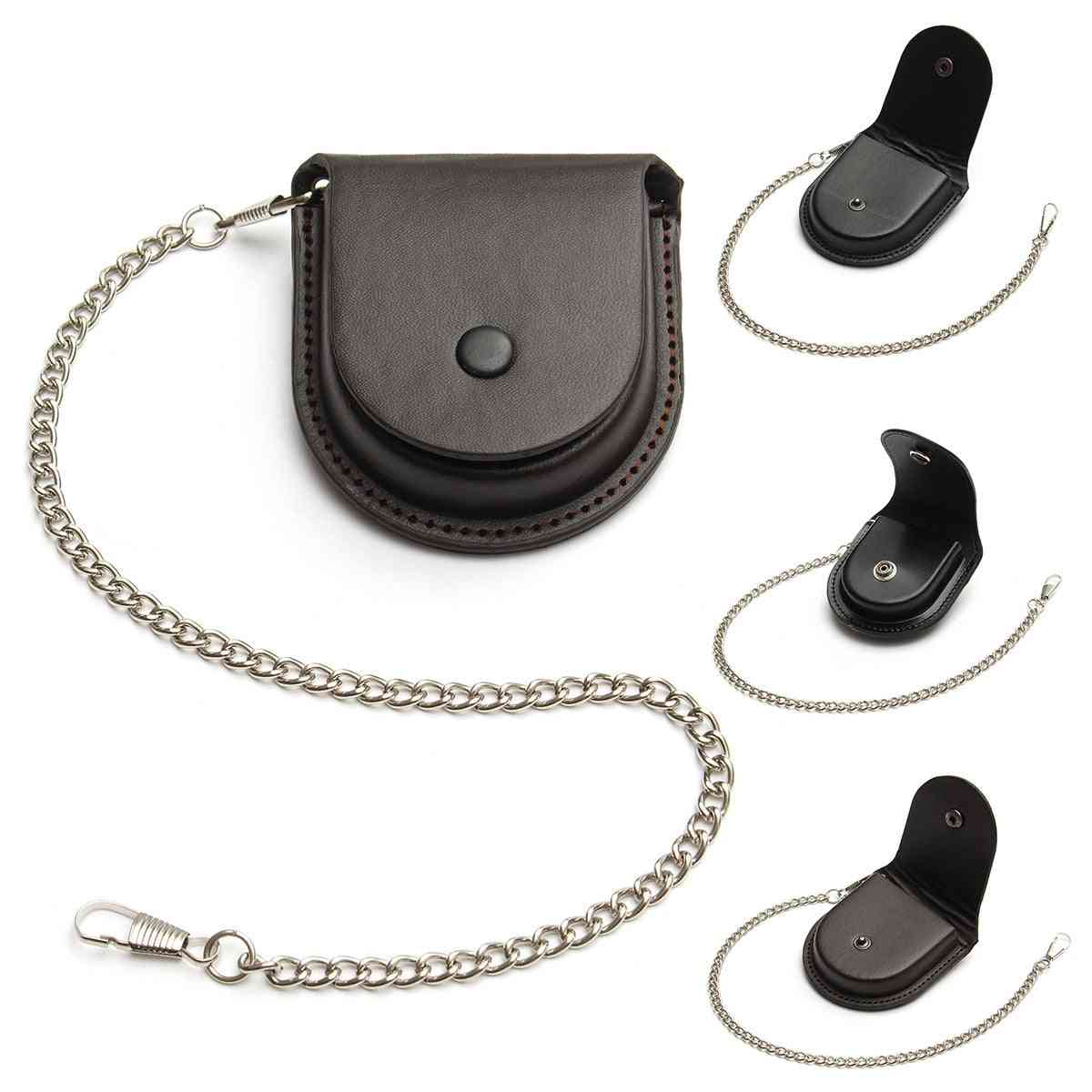 Fashion Male Back Brown Coin Pouch Bag With Chain Pu Leather Cover Purse Box