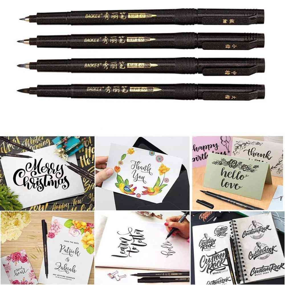 Calligraphy Pen Set - Fine Medium Brush Tip For Hand Lettering, Drawing, Writing, Signature Art Tools