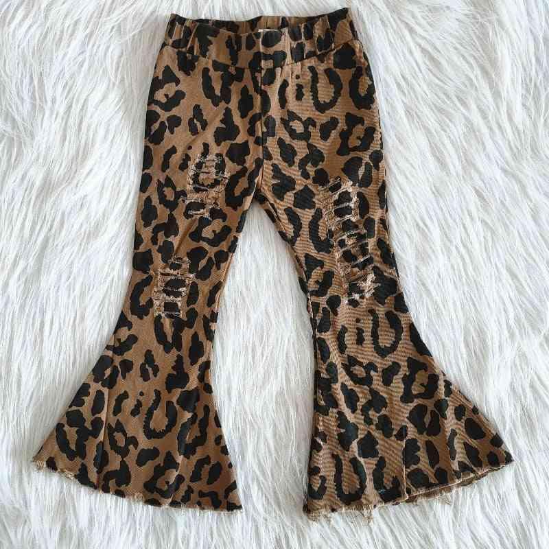 Leopard Pattern Bell Bottom Jeans For Baby Girl