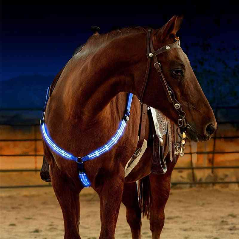 Dual Led Horse Breastplate Nylon Webbing Night Visible Horse-racing Equestrian